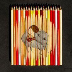 Dibujos en Lápices  original  talento  madera