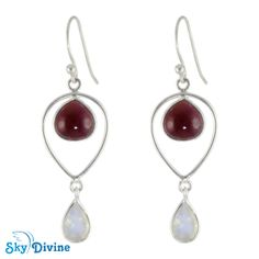 Be flaming red in this red hot number ! Seduce everyone to agree with whatever you offer with this hot combination of garnet & moonstone earring. Make an eye to eye contact, smile and shine. This gemstone jewellery could be your lucky charm!  Sky Divine | Sterling Silver moon stone & garnet Earring SDER2122h, $44.95