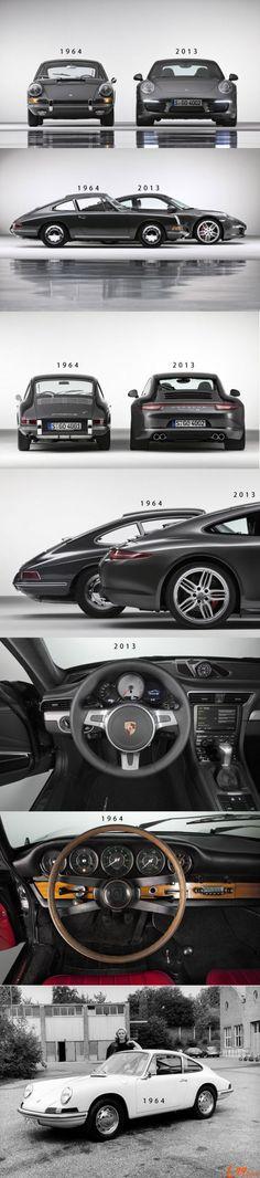Porsche 911 ~ 1964 vs 2013.