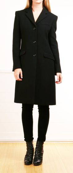black coat- red lining, I love this whole look w boots et al