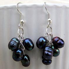 Peacock Pearl Cluster Earrings Freshwater by SaltwaterDaydreams