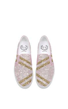 1ad0c2dbffb Del Toro X Edie Parker Slip-On Pink Glitter Sneaker by Del Toro for Preorder