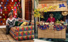 Decoração especial: uma barraquinha junina foi construída na casa de cristal