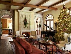 Happy Christmas! - Brick, stone, stucco, wood beams, dark wood floors, etc.