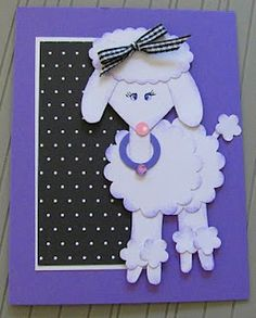 White poodle punch art card