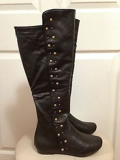 So cute!  Dark Brown Women Knee High Studded Faux Leather Flat Rider Boots Size 7 1 2 | eBay