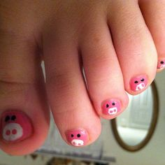 Cute Pig Nails for Girls – lilostyle Nails For Kids, Girls Nails, Cute Nails, Pretty Nails, Pig Nails, Little Girl Nails, Toe Nail Designs, Pedicure Designs, Nail Fungus