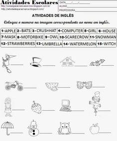Atividades para Crianças: Atividade de inglês para imprimir
