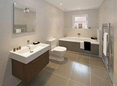 Modern Family Bathroom - white / grey - large bathroom tiles