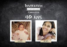 Invitation Anniversaire Avant-Après 40 ans                                                                                                                                                                                 Plus 40th Birthday Invitations, 40 Years Old, Beach Party, Happy Birthday, Birthday Ideas, Buffet, Birthdays, Lolo, Celine
