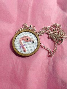 Flamingo cross stitch necklace bird cross stitch by otterlydesign