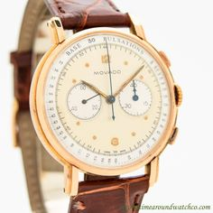 1950's Vintage Movado 2-Register Chronograph 18k Rose Gold Watch