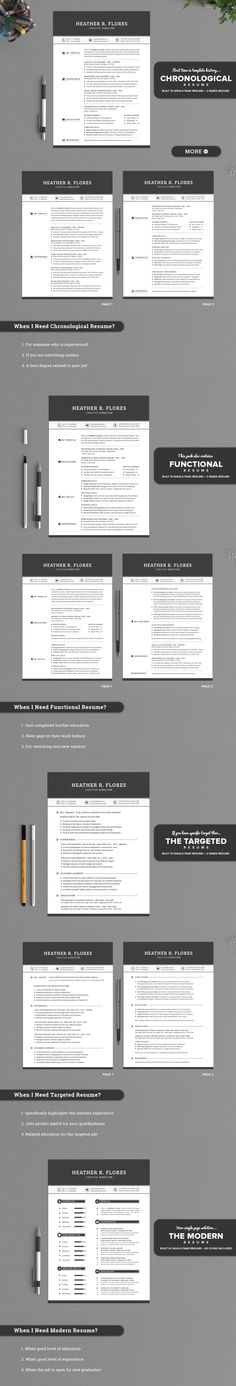 All in One Timeless Resume CV Pack by SNIPESCIENTIST on Creative Market