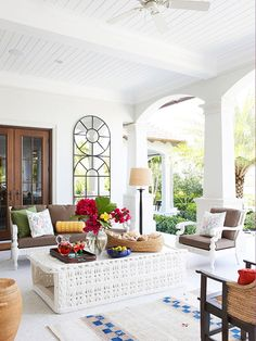 Adding a mirror to your front porch can be a unique and beautiful way to brighten your porch.