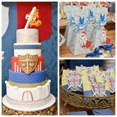 Knights + Dragons themed birthday party via Kara's Party Ideas KarasPartyIdeas.com Invitation, decor, printables, supplies, recipes, and more! (1)