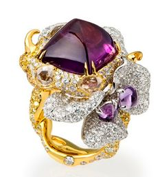 ** Work of Art..... wonderfully designed sugarloaf sapphire and diamond ring/ Cindy Chao