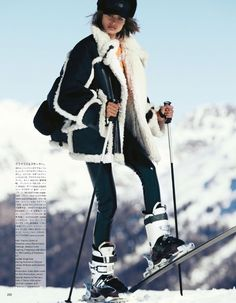 Model of the moment Birgit Kos suits up, styled by Giovanna Battaglia Engelbert in ski-ready, snow-bunny looks from Givenchy, Emporio Armani, Gucci and more. Photographer Erik Torstensson captures Birgit in 'Skiing in Luxury' for Vogue Japan August Snow Fashion, Vogue Fashion, Daily Fashion, Fashion Photo, Winter Fashion, Japan Fashion, Sporty Fashion, Fashion Women, Vogue Japan