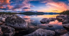 Midnight sun at Kilpisjärvi, Finninsh Lapland. This is the first post of my recent roadtrip to Northern Finland and Lofoten Islands Norway. 3 exposure HDR-Panorama made of 9 vertical shots. Ramones, Lofoten Islands Norway, Beach Rocks, Midnight Sun, Nature Wallpaper, Milky Way, Amazing Nature, Wonderful Places, Places To See