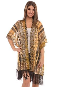 a43b08c201 BYOS Womens Lightweight Allure Printed Lace Open Front Kimono Cardigan  Beach Coverup W/ Fringes, Various Styles (Yellow Mustard Mixed Lacy  Vintage) Best ...