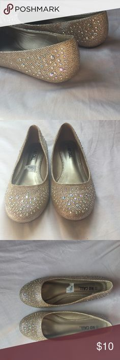 Gold sparkly flats size 8.5 They are like a nude sparkly flats. They are gorgeous. Never wore them. Still have box and everything is in good condition NO CALL Shoes Flats & Loafers
