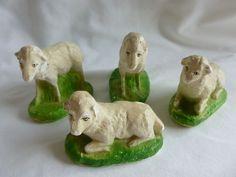 VINTAGE NATIVITY SHEEP PLASTER CHALKWARE SET LOT 4 JAPAN ITALY GERMANY ?
