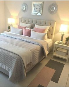 Schlafzimmer Ideen Teenager 41 awesome pink and gold girls bedroom decor makeover for a budget # Dream Rooms, Dream Bedroom, Bedroom Yellow, Bedroom Decor Grey Pink, Pink And Grey Bedding, Yellow Comforter, Gray Bedding, Bedroom Neutral, Pink And Grey Cushions