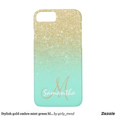 Stylish gold ombre mint green block personalized