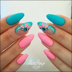 Colorful Spring Nails for a Sparkly, Shiny, Shimmery Manicur Nails For Party And. - - Colorful Spring Nails for a Sparkly, Shiny, Shimmery Manicur Nails For Party And Office Use With Unique Fashion Picture Credit Colorful Nail Designs, Nail Designs Spring, Nail Art Designs, Nails Design, Manicure Colors, Nail Colors, Nail Manicure, Long Nail Art, Yellow Nails