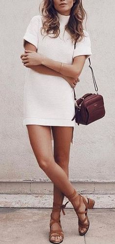 #summer #outfits White Dress + Camel Sandals