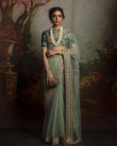 Light green net sari paired with embroidered forest green blouse - Sabyasachi 2016 Sabyasachi Sarees, Red Lehenga, Indian Sarees, Anarkali, Lehenga Choli, Pakistani, Indian Attire, Indian Ethnic Wear, Indian Dresses
