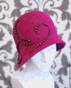 """Купить Шляпка клош """"Фуксия"""" - фуксия, шляпка клош, клош, велюровая шляпа, велюр"""
