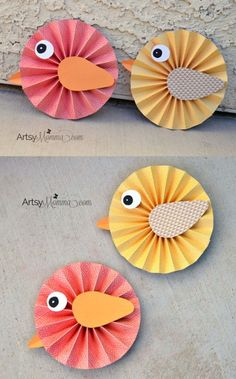 DIY Spring Project: Make Paper Rosette Birds using DCWV Paper Stacks & Xyron products – would look pretty as a banner! DIY Spring Project: Make Paper Rosette Birds using DCWV Paper Stacks & Xyron products – would look pretty as a banner! Kids Crafts, Easter Crafts, Diy And Crafts, Diy Paper Crafts, Bird Paper Craft, Mouse Crafts, Canvas Crafts, Clay Crafts, Fabric Crafts