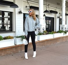 TREND OF THE SEASON- PEARLS - Jaclyn De Leon Style + embellished gray  cozy sweater + black crop denim + white boots + cat eye sunglasses +  casual street style + fall trends + what to wear this season + city  style + edgy look + h&m style + amazon style + holiday style