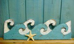 Waves White & Turquoise Ocean Sea Waves Sign Beach House Decor. $49.00, via Etsy.