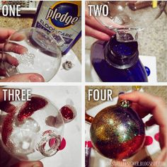 Glitter Galaxy Ornament DIY -  you need clear ornaments, floor wax and GLITTER ;D