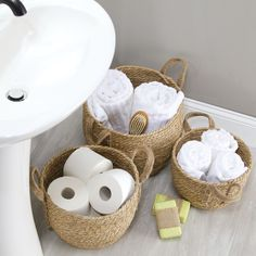Natural Woven Seagrass Storage Round Basket Bins - Pack of 3 in Gray, by mDesign Wc Decoration, Round Basket, Toy Rooms, Guest Towels, Home Organization, Organizing, Bathroom Interior, Bathroom Remodeling, Storage Baskets