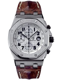 Audemars Piguet Stainless Steel Royal Oak Offshore Safari Chronograph. Stainless Steel Self-Winding Chronograph with Date Display on a Crocodile Strap With AP Folding Clasp. Available at London Jewelers!