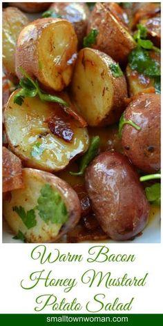 Warm Bacon Honey Mustard Potato Salad.