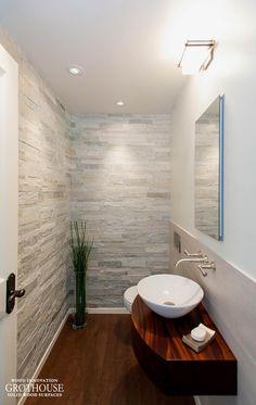 Sapele Mahogany Wood Bathroom Counter in Washington Wood Countertops, Wood Bathroom, Powder Room, Bliss, Bathrooms, Washington, Sink, Furniture, Home Decor