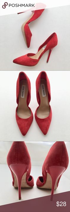"""Steve Madden Red Suede """"Varcityy"""" Heels Size 8.5 GORGEOUS and super sexy heels in great used condition! Literally been worn once and in near perfect shape, small nick in one heel and the suede could probably use a gentle cleaning but they're basically good to go, and the sole is pristine. Nice and padded around the ball of the foot too. Ask any questions 💕 heel height: 4.5"""" Steve Madden Shoes Heels"""