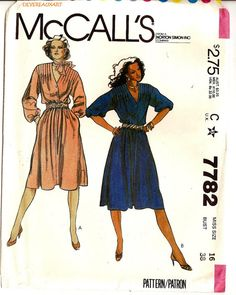 1981   McCall's Pattern 7782  UNCUT  Size 16  by Devereauxart (Craft Supplies & Tools, Patterns & Tutorials, Sewing & Needlecraft, Sewing, mccalls 7782, size 16, sewdress, dresspattern, sew scarf, 1981, dress, dresses, scarf)