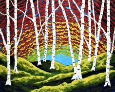 Vision Quest XLI https://www.etsy.com/listing/567247219/original-acrylic-painting-vision-quest  Twilight along the shore of the Lake Michigan. In the valley between the dunes is a cluster of birch. Their white bark clinging to the trunks of the unusual trees. A humble spot secluded by nature. A perfect place to find one's purpose in life.  See my work in person at: @Whitman Works 1826 Penfield Rd Penfield, NY 14526  https://www.whitmanworks.com/ (585) 747-9999
