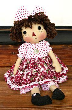 Primitive Raggedy Chantilly Doll PDF E Pattern  by Donna of appleorchards on Etsy