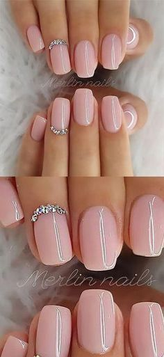 ✔ Best Gel Glitter Nail Designs to Copy in 2019 - [Nails] - Nageldesign Stylish Nails, Trendy Nails, Cute Nails, Pink Nails, Glitter Nails, Hair And Nails, My Nails, Wedding Nails Design, Diy Wedding Nails