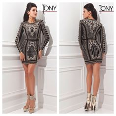 Tony Bowls TS21452 for $649. Available in Black/Gold and Off White/Gold. #miabellacouture #tonybowls #cocktaildress #partydress #birthdaydress #girlsnightout #downtown #highfashion #style #glam