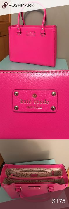 "FINAL PRICE Kate Spade Wellesley Pink Purse Perfect condition Kate Spade Wellesley Purse.  Measures 11.5"" W x 9.5"" H x 4.5"" D. kate spade Bags"