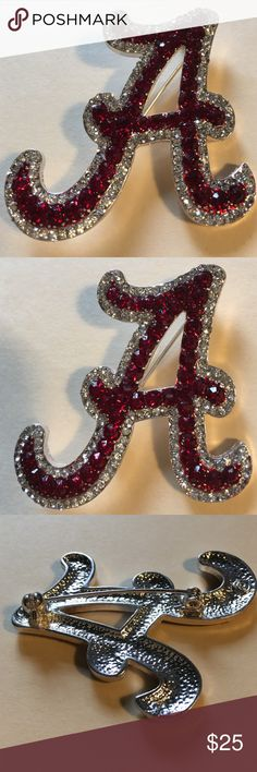 """Alabama Pin with diamond & Ruby Rhinestones Alabama Pin with diamond & Ruby Rhinestones. Approximately 2 2/8"""" tall x 2"""" wide at the bottom.  NW. If you are a BAMA Fan it is a MUST HAVE. Seasons Jewelry Brooches"""