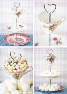 DIY make a tiered china display - not sure I'd have the nerve - maybe with thrift store china.