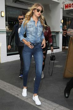 Gigi Hadid - All Over Denim Look + White Sneakers