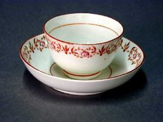 18thC Coalport Porcelain Teabowl and Saucer. Shrewsbury Museum Service. One of the earliest Coalport patterns.